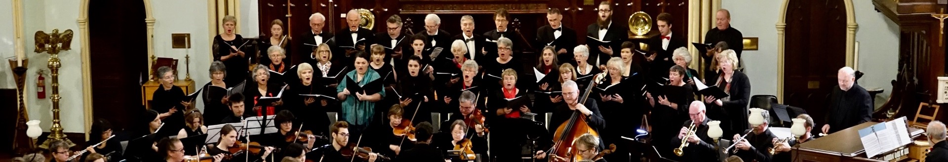 Panorama image of the Brockville Community Choir in concert.