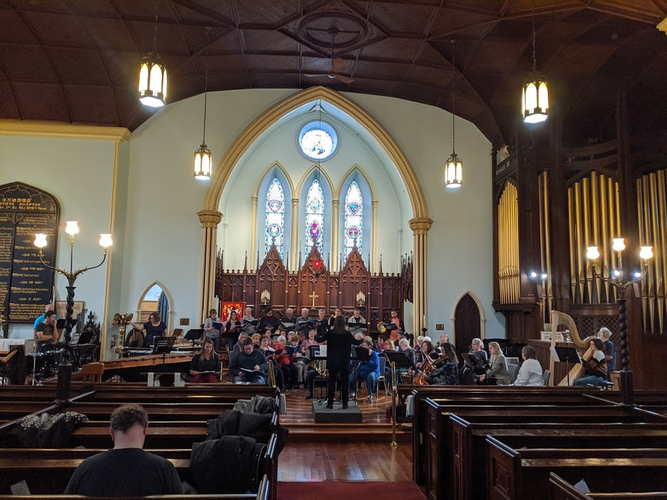 Choir rehearsing in St. Lawrence Anglican Church